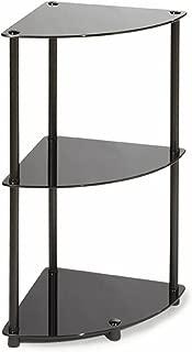 Convenience Concepts Designs2Go Midnight Classic 3-Tier Glass Corner Shelf, Black Glass