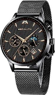 MEGALITH Orologio Uomo Militare Nero Orologio da Polso Design Impermeabile Cronografo Analogici Acciaio Mesh Orologi Quadr...