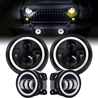 EBESTauto Dot Approved 7inch Jeep LED Headlights with White DRL/Amber Turn Signal + 4 inch LED Fog Lights with White DRL for Jeep Wrangler JK TJ Hummer H1 H2,2PCS