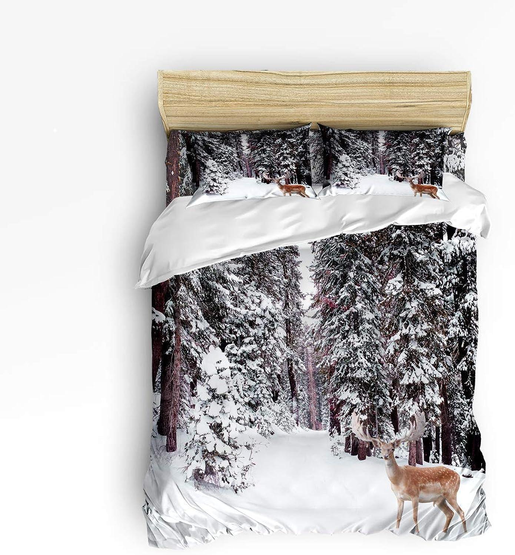 Duvet Cover Set Twin Size Winter Forest Wild Animals Deer Elk Nature Scenery Print Lightweight Microfiber Duvet Cover Sets
