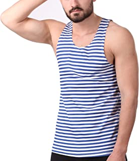 Svitanak Russian USSR Soviet Military Army T-Shirt Tank TOP Vest Blue White Sailor's Striped Vest