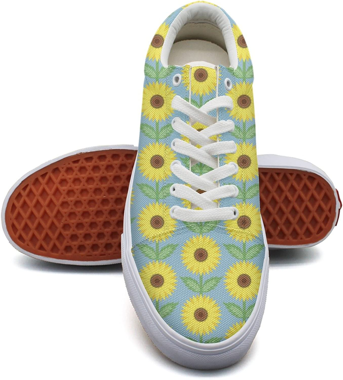 Feenfling Sunflower Floral Womens Denim Canvas Lace up Dhoes Low Top Popular Cloth shoes for Women's