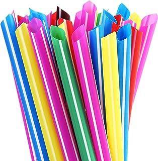 ALINK Extra Wide Rainbow Plastic Bubble Tea Smoothie Straws, 1/2