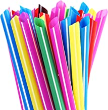 """ALINK Extra Wide Rainbow Plastic Bubble Tea Smoothie Straws, 1/2"""" Wide X 8 1/2"""" Long Large Fat Boba Milkshakes Straws, Pack of 100"""