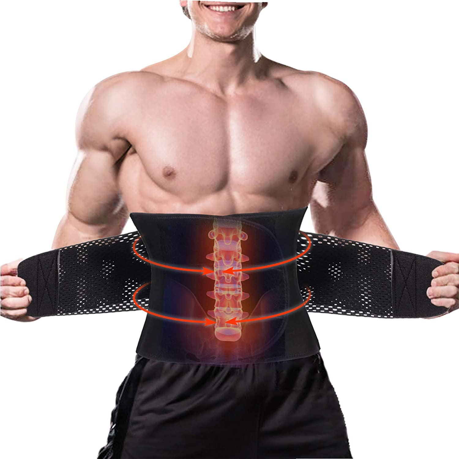 LODAY Back Brace Lumbar Support Belt with Dual Adjustable Straps Fast Lower Back Pain Relief
