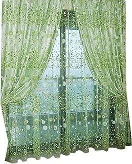 Winomo Blommig tyll fönster kanvas fötter skal ficka voile gardiner för sovrum vardagsrum 100 x 200 cm (grön)