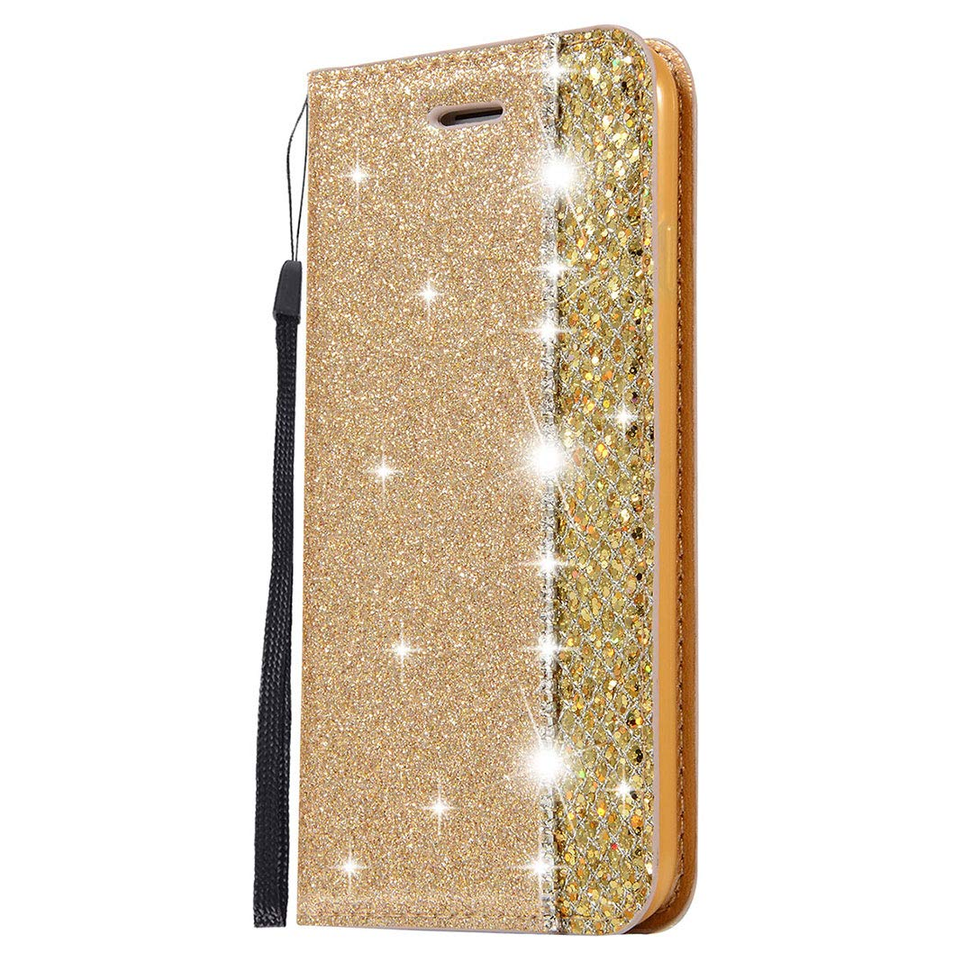 Leather Phone Case for Galaxy S9 Lea Mail order cheap Glitter PU Plus Indefinitely Cover Gold