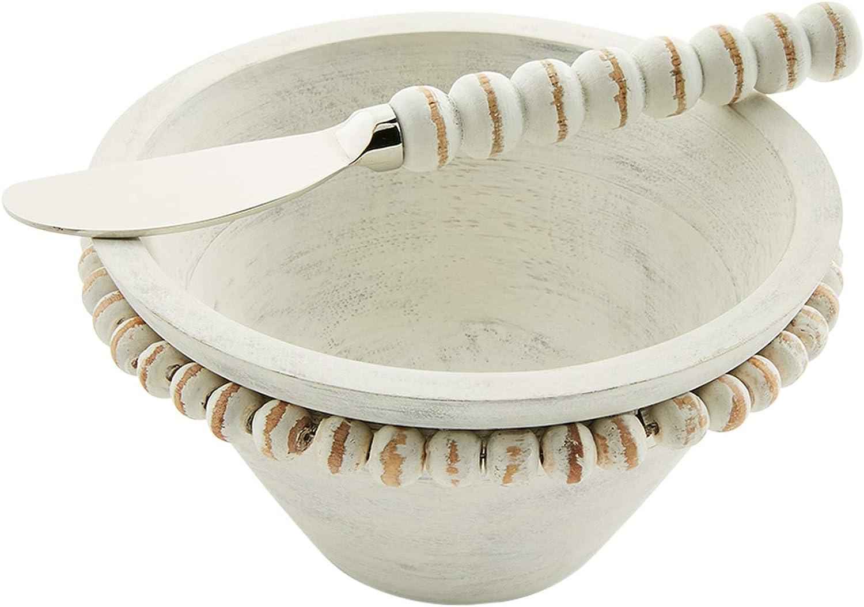 Mud Pie White BEADED WOOD DIP Washington Mall BOWL SETS 5 1 Sprea Dia 2