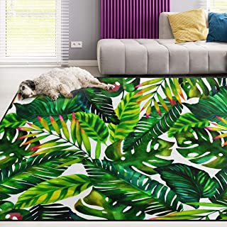 Naanle Tropical Green Leaves Area Rug 5'x7', Watercolor Painting Polyester Area Rug Mat for Living Dining Dorm Room Bedroom Home Decorative