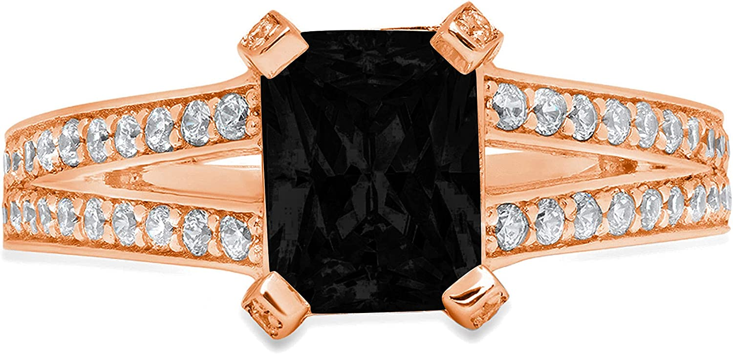 2.70 ct Emerald Cut Solitaire Accent split shank Genuine Flawless Natural Black Onyx Gemstone Engagement Promise Statement Anniversary Bridal Wedding Ring Solid 18K Rose Gold