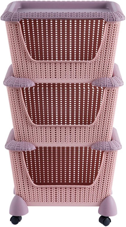 Storage Bins Organizer with wheels,Rolling Laundry Basket Heavy-Duty Sorting Hamper,Pink,3Tier