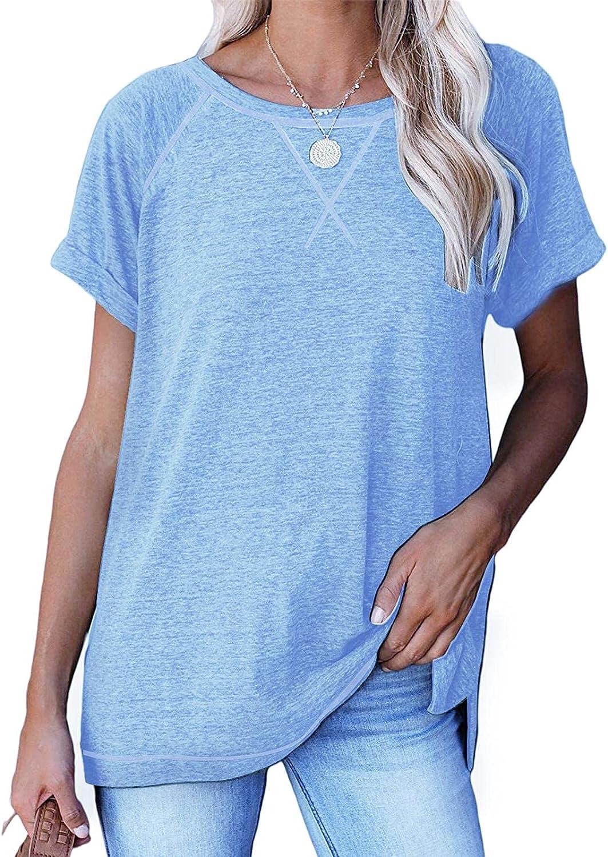 Women Short Sleeve T Shirt Raglan Crewneck Summer Tops Casual Loose Comfy Tunic Shirts Blouses Tees