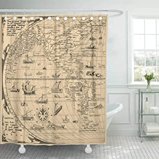 Emvency Waterproof Fabric Shower Curtain Hooks Old Antique World Map North America South China Year 1520 Asia Columbus Extra Long 72
