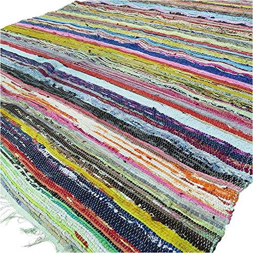 Tappeto pezzotto realizzato a mano con materiali riciclati, tappeto indiano Chindi multicolore, boho-chic decorativo (150x 90cm) Green