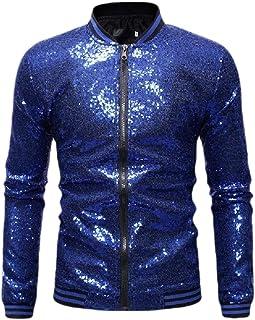 qianqianq Mens Plus-Size Zipper Relaxed-Fit Outwear Coat Sequin Jacket