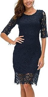 Women's Lace Sheath Dress Slim Fit Midi Dress
