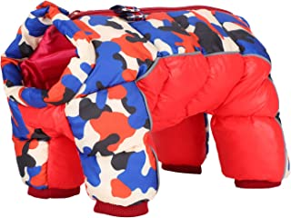 Fdit Hund vinterrock, vindtät hundjacka, fyra ben bak dragkedja röd kamouflage hund varm kläder, hundoveraller kläder (12 #)