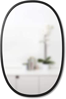 "Umbra Hub 24 x 36"" Oval Wall Mirror With Rubber Frame, Modern Room Decor for Entryways, Washrooms, Living Rooms and More, Black"