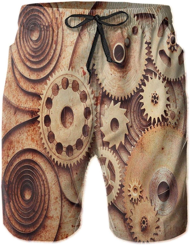 Mechanical Clocks Details Old Rusty Look Backdrop Gears Steampunk Design Mens Swim Shorts Casual Workout Short Pants Drawstring Beach Shorts,M