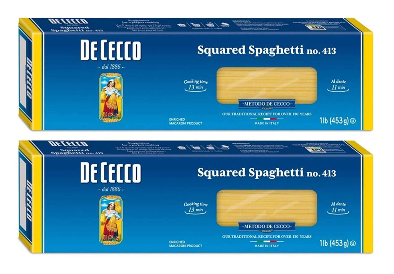 De Cecco Semolina Pasta, Square Spaghetti #413, 1 Lb ( 2 Pack )