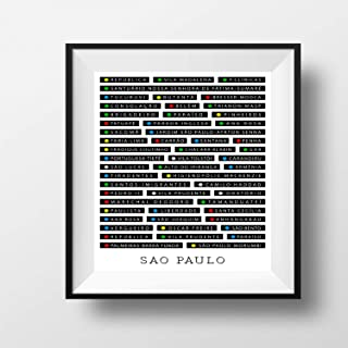 Metro Maps Sao Paulo, Brazil Monochrome Poster Print Artwork - Professional Wall Art Merchandise - Subway, Black and White