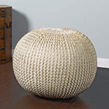 L.R. Resources Fairbanks Bone Knitted Pouf Ottoman, 1'4 x 1'8, Ivory/Gold