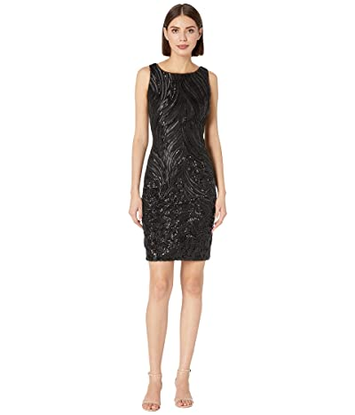 Calvin Klein Sequin Sheath Dress (Black) Women