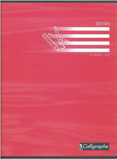 Calligraphe 7555C - Un cahier de dessin (gamme 7000 de Clairefontaine) 96 pages 24x32 cm 120g unies blanches, couverture c...