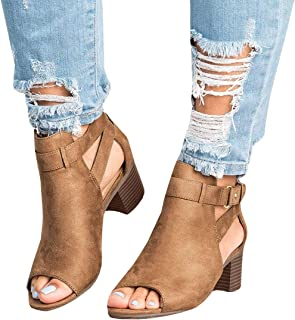 Ruanyu Womens Peep Toe Booties Cutout Chunky Stacked Heel Ankle Strap Wedge Heeled Sandals