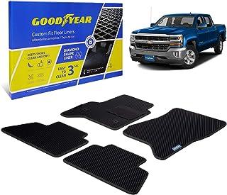 Goodyear Custom Fit Car Floor Mats for Chevy Silverado 1500 2014-2018 Crew Cab, Black/Black 4 Pc. Set, All-Weather Diamond...