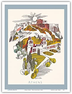 Athens, Greece - Parthenon Temple, Athenian Acropolis - TWA (Trans World Airlines) Menu Cover - Vintage Airline Travel Poster by David Klein c.1960s - Master Art Print - 9in x 12in