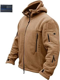 CRYSULLY Men's Military Tactical Combat Sport Warm Fleece Hooded Outdoor Adventure Jacket Coats
