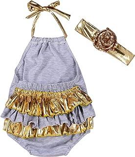 gllive Baby Girls Halter Backless Ruffles Romper Summer Jumpsuit With Headband