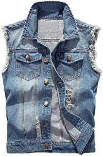 Saukiee Men's Casual Lapel Denim Vest Jacket Vintage Slim Fit Sleeveless Ripped Jeans Vests
