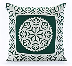 RALLITRIBE Handmade Quilted Decor Throw Pillow with Insert, Soft Cotton Cover, Square Decorative Pillow, Forest Green, 18 ...