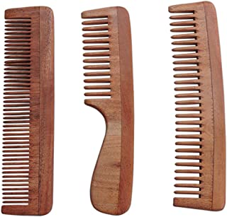 HealthGoodsIn - Set of 3 Pure Neem Wood Combs for Strong and Shiny Hair | Wide Tooth Neem Comb | Fine Tooth Neem Comb | Wide Tooth Neem Comb with Handle for Hair and Scalp Health | Ultra Saver Pack