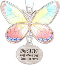 Ganz 2 Beautiful Zinc Butterfly Ornament with Sentiment Featuring White Organza Ribbon for Hanging (The Sun Will Come out Tomorrow)