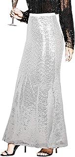 PrettyGuide Women's Sequin Maxi Skirt Glitter Bodycon Long Mermaid Skirt Formal Skirts
