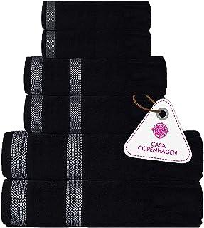 CASA COPENHAGEN Solitaire Egipcio algodón 600g/m², Sala de baños, Mano y servilleta / Toallas Junto (Negro Oscuro) 6 Piezas