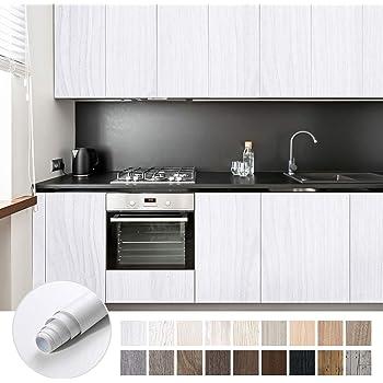 KINLO Papel Adhesivo Pintado Impermeable con la Imagen de Madera Pegatina de PVC para Decorar y Proteger Pegatina para Muebles Cocina Baño a Prueba de Agua de Moho 0.61*5M per Rollo: Amazon.es:
