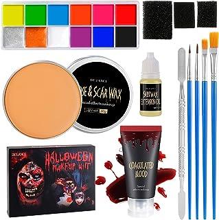 DE'LANCI Halloween Special Effects SFX Makeup Kit for Zombie,Vampire,12 Color Makeup Paint Oil Based,Scar Wax(2.12 oz),Fak...