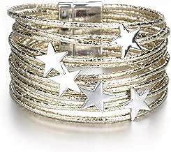 Leather Bracelets for Women Pentagram Metal Charm Boho Multilayer Wrap Bracelet Femme Jewelry