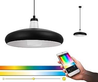 EGLO Connect Tabanera-C - Lámpara de techo LED, 1 foco, de acero y cristal, color negro, blanco, cambio de temperatura (cálido, neutro, frío), RGB, regulable