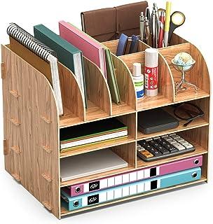 Organiseur Bureau Bois,Lesfit Set De Rangement Bureau Design,Organisateur De Bureau Multifonction Pour Stylo Crayon A4 Pap...