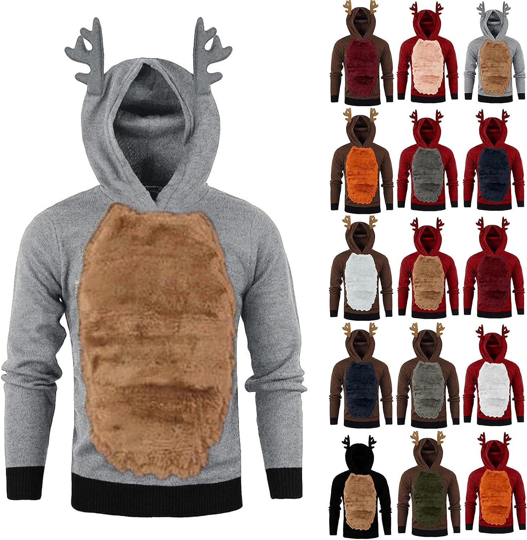WoCoo Men's Christmas Hooded Sweatshirts Funny Cute Xmas Reindeer Hoodies Pullover Thicken Fluffy Fleece Festival Blouse