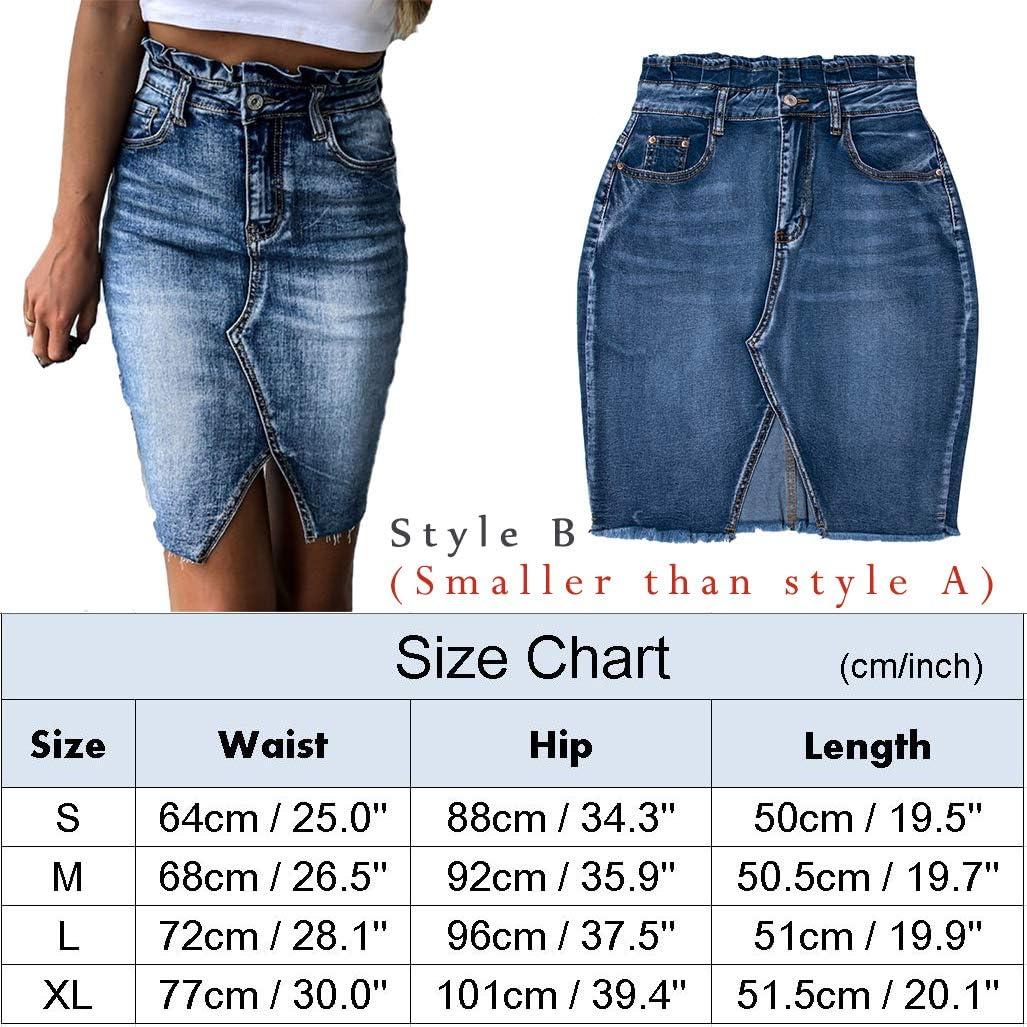 Women's High Waist Washed Frayed Denim Skirt Irregular Split Fringed Slim Fit Jean Short Skirt with Pockets