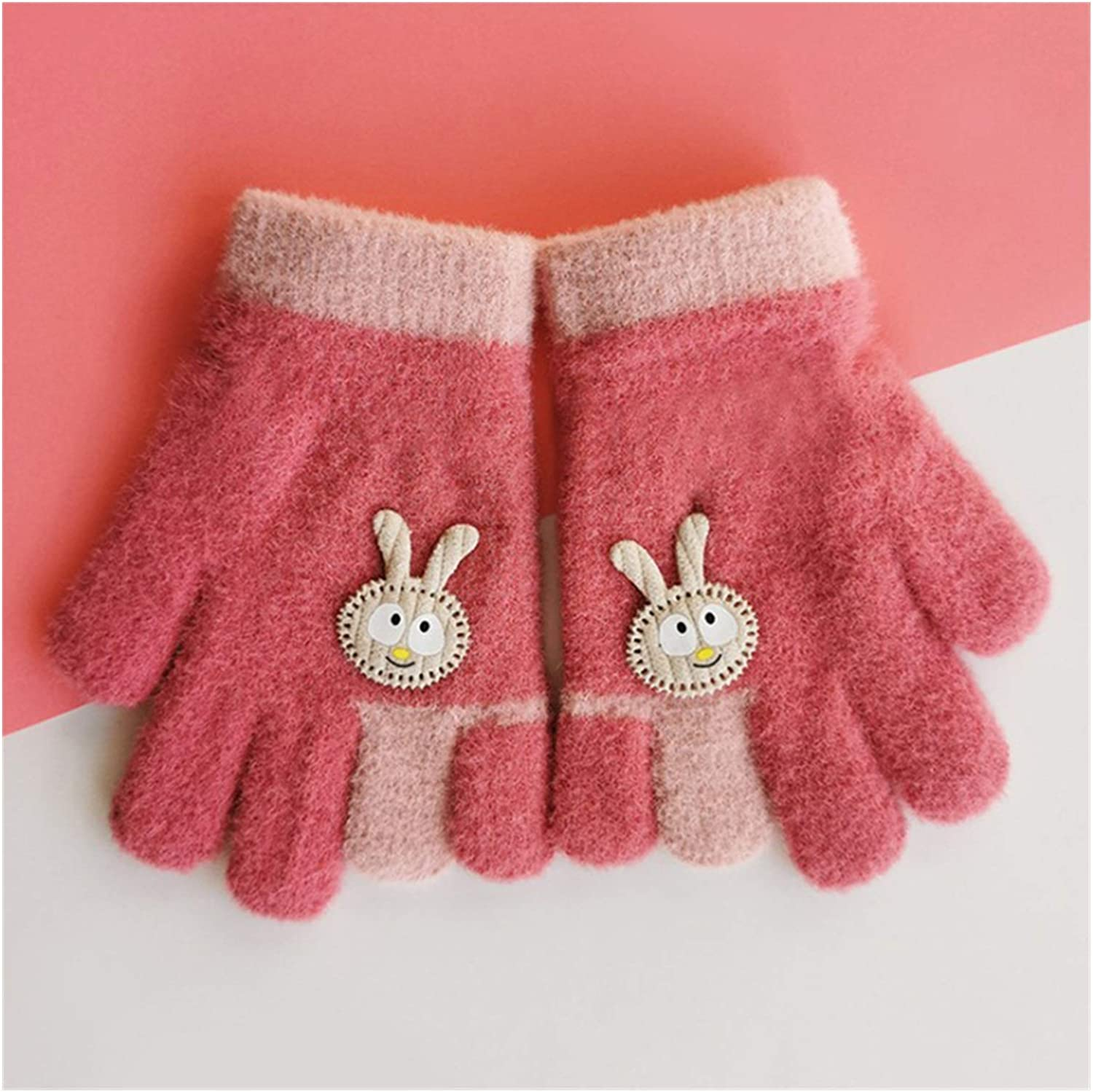 GUYANMAY Lace Gloves New Children's Winter Knitted Gloves 3-6 Years Warm Soft Rabbit Wool Cartoons Kids Gloves Child Full Finger Boys Girls Mittens (Color : 10, Gloves Size : 3 6 Years Old)