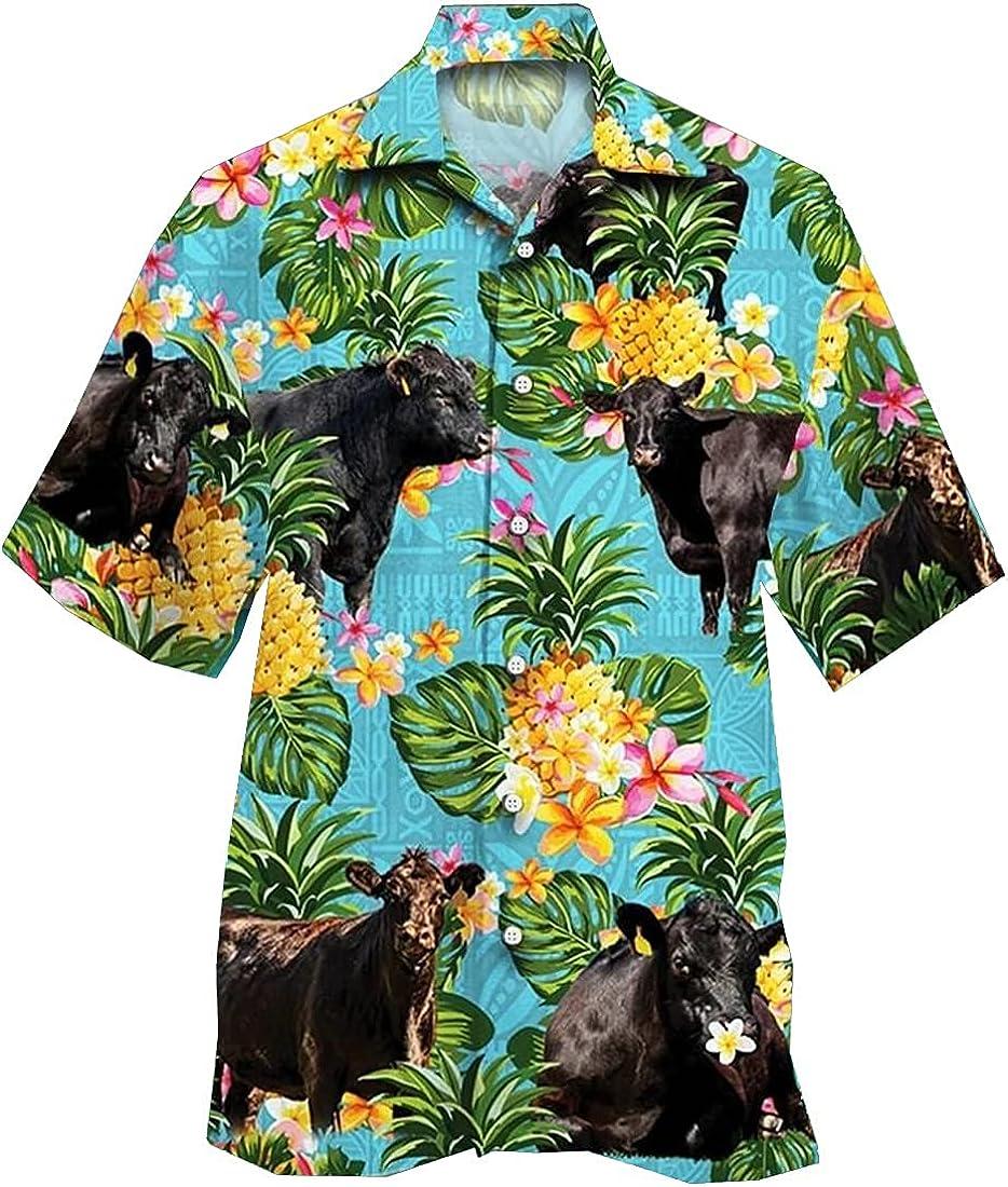 Tropical Cow Hawaiian Shirts for Men - Summer Cow Button Down Mens Hawaiian Shirts Short Sleeve Series 177