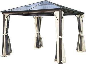 Outsunny Tonnelle Pavillon de Jardin Imperméable 4 Parois Latérales 4 Moustiquaires Anti-UV Panneau PC Alu 3 x 3 x 2.6 m Beige