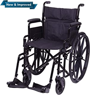 """Carex Wheelchair with Large 20"""" Padded Seat - Wheel Chair with Adjustable and Removable Swing-Away Footrests - Folding Chair for Compact Storage, 250lb Capacity, Black"""